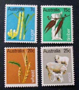 Australia 1969 PRIMARY INDUSTRIES (Sugar,Timber,Wheat,Wool) MNH (4) SG 440-3