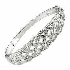 RICHLINE DIKBAN17855 Woven Bangle Bracelet W/ Diamonds Rhodium-plated Brass