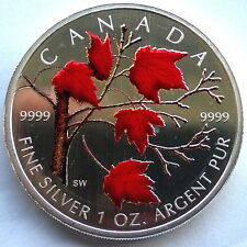 Canada 2004 Red Maple Leaf 5 Dollars 1oz Colour Silver Coin