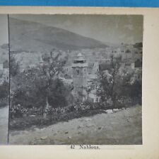 c1890 Stereoview Photo Palestine Nablous Nablus Shechem Holy Land Israel