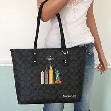NEW COACH Black Grey Signature PVC Leather Shoulder Bag Tote Purse Limit Edition