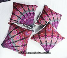 Multi Color Art Mandala Design Cotton Indian Set Of 4 PCs Cushion Cover Indian