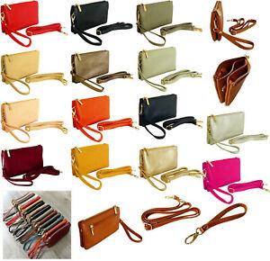 Small Plain Clutch Bag Purse with Wristlet Ladies Handbag Long Adjustable Strap