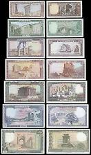 Lebanon 1, 5, 10, 25, 50, 100, 250 Livres, 1980s, UNC, 7 Banknotes Full Set