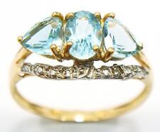 NEW 10KT YELLOW GOLD 3 STONES BLUE TOPAZ & DIAMOND RING SIZE 7    R993