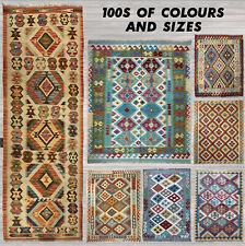 Oriental Afghan Handmade Kilim Area Rug 100% Wool Natural Colours Runner Stairs