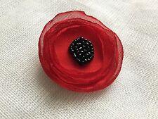 Handmade Red Fabric Poppy Black Beaded Flower Brooch Accessory Sale