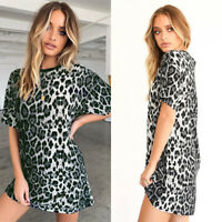 Womens Leopard Short Sleeve Tunic T Shirt Top Casual Beach Club Short Mini Dress
