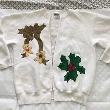Ugly Christmas sweater handmade vintage Rudolph Wreath Sweatshirt XL