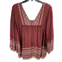 World Market Peasant Top L/XL Maroon Red Bell Sleeve Tribal Flowy Boho Blouse