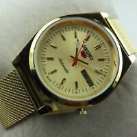 VINTAGE SEIKO 5 LOVELY GOLDEN CASE MENS AUTOMATIC JAPAN WORKING WRIST WATCH MN.