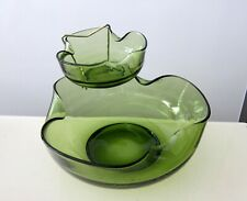 NEW VINTAGE ACCENT MODERN ANCHOR HOCKING GREEN GLASS CHIP AND DIP IN BOX