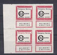 1971 STRIKE MAIL OSBORNE BELMONT & SUTTON POST 2/- MARGINAL BLOCK OF FOUR MNH a