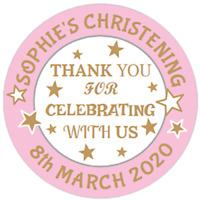 48 Personalised Christening Baptism Birthday Stickers Sweet Cone Labels  40mm