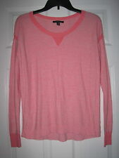 AMERICAN EAGLE CORAL LONG SLEEVE KNIT TRIM S TOP SHIRT