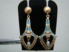 Equisite 18K Gold earrings with Plique a jour enamel