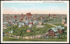 WASHINGTON PA Vintage Birds Eye Rooftop Aerial View Postcard Old Town PC
