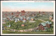 WASHINGTON PA Vintage Birds Eye Rooftop Aerial View Postcard Old Town PC