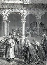 Antique print hide-out crusader ladies Marche-les-Dames Namen,Namur Belgium
