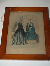 Antique 1848 Engraving-Fashion Print-Hand Colored-WS Barnard-Neale & Pate