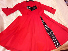 Womens Xmas Red Dress Size 4XL Flared Skirt Black/White Polka Dot Inserts