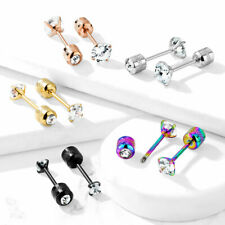 Surgical Steel Pair Prong Set CZ Gem Stud Earrings With Gem Centered Screw Back