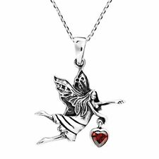 Spirited Fairy Holding Heart Cubic Zirconia Sterling Silver Necklace