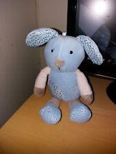 Mothercare blue patchwork vintage puppy dog soft toy rattle comforter