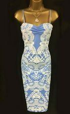 Lipsy Michelle Keegan Pencil Dress 8 Baby Blue Lace White Puff Print Party Sexy
