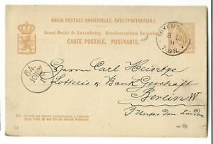 LUXEMBOURG, 1881. P/C  from LUXEMBOURG  to GERMANY BERLIN  used