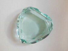 Rosenthal Germany Crystal Heart Paperweight Faceted Logo Signature Green Vintage
