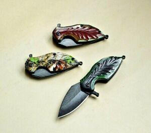 Mini Drop Point Folding Knife Leaf Pocket Hunting Survival Tactical Keychain EDC