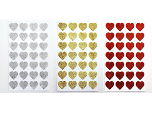Self Adhesive 2cm Silver/Gold/Red Glitter Heart Sparkly Stickers - Sheet of 28