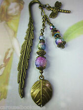 Beaded Bookmark Leaf Dragonfly Animals Handmade Bronze *More Designs in Store*