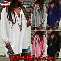 NEW Women's Loose V Neck Chiffon Blouse Shirts Long Sleeve Casual Tops Plus Size