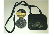 Leather air rifle gun pellet pouch, zipped & clear pockets for gamo bsa 177 & 22