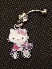 Hello Kitty & Tricycle Bike dainty Belly Ring Navel Ring 14G S.S.