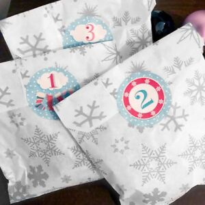 Advent calendar bags - silver snowflake and white & 60mm stickers numbered 1-24
