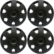 "Fits VW Volkswagen 4 PC Set Hub Caps Black Matte 15"" Inch Wheel Covers Cap Cover"