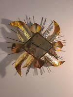 VTG Brutalist Wall Clock Mid Century Abstract Metal Sculpture Torch Art Copper