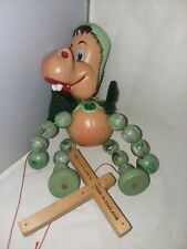 Pelham Puppet Wood Toy Marionette Baby Dinosaur 1960's England Needs Restrung