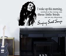 "Bob Marley ""Three Little Birds"" Quote Wall Art Sticker/Decal/Mural"