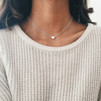 Women 925 Silver Gold GF Heart Pendant Choker Chunky Chain Bib Necklace Jewelry