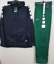 NIKE ELITE STRIPE BASKETBALL WARM UP SUIT HOODIE+PANTS BLACK GREEN NEW (SIZE XL)