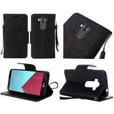 LOT OF 2  BLACK Canvas LG V10 G4 Pro Design Wallet Credit Card Stand Case Cover