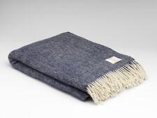 McNutt Midnight Blue Herringbone Large Throw Blanket - Irish Made 100% Wool