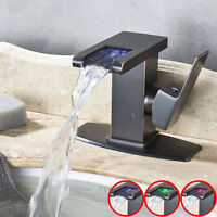 LED Color Waterfall Spout Bathroom Sink Faucet Basin Mixer Tap Oil Rubbed Bronze