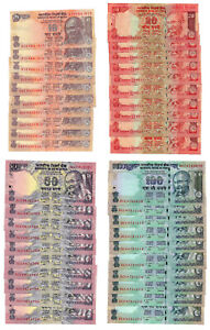 India Star Replacement 10, 20, 50 & 100 Rupees 2010-2011 (10 sets of 4 = 40 pcs)