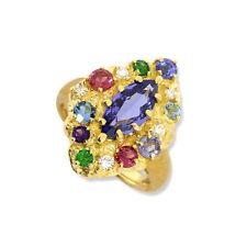 Ring Tansanit Saphir Turmalin Topas Amethyst Brillant 3,24 carat 750-Gelbgold