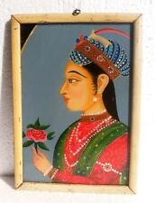 Antique Old Rare Hand Painted Indian Mughal Queen Miniature Fine Glass Painting